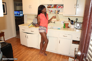 Ebony teen giving handjob till explosion - XXX Dessert - Picture 1