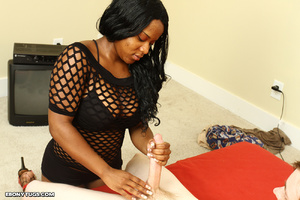 Busty black girl in fishnet dress tuggin - XXX Dessert - Picture 3