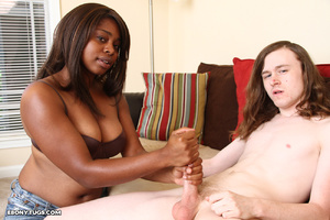 Black slut in bra gives handjob - XXX Dessert - Picture 4