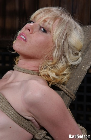 Tattooed blonde tied hard for bad painfu - XXX Dessert - Picture 1