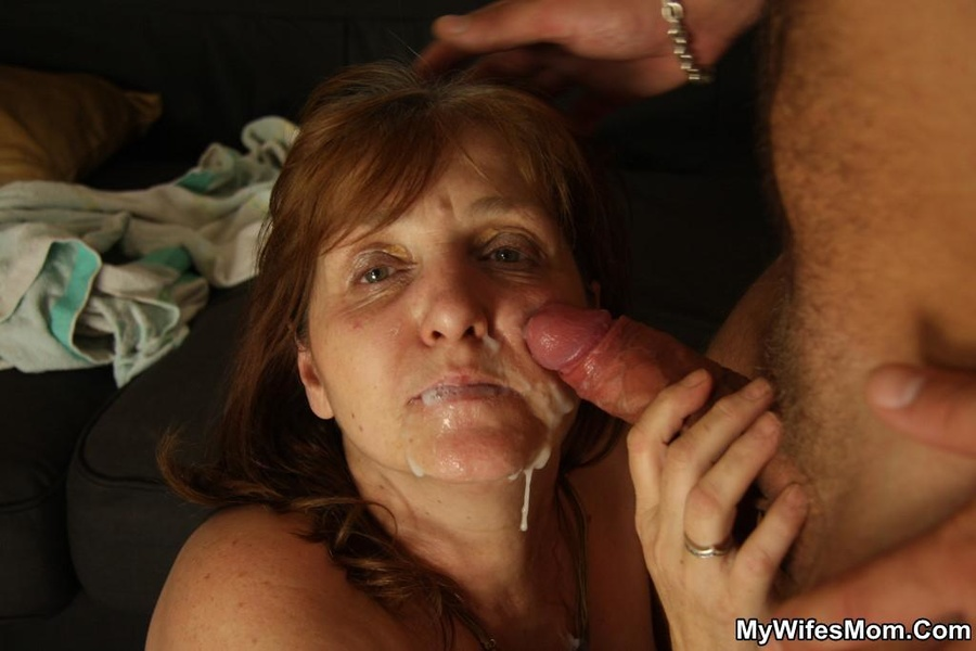 Mature wife eats cum