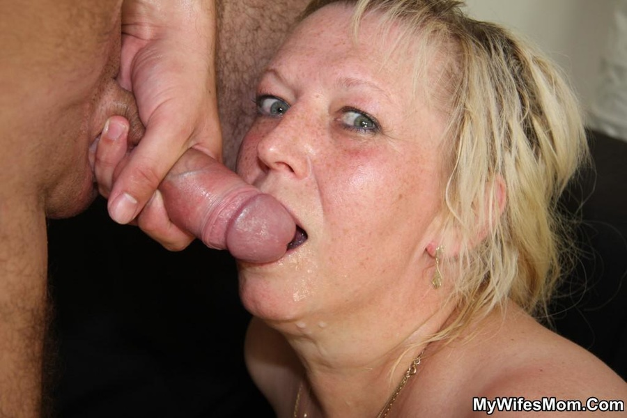 Mature slut swallows cum