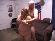chubby blonde swallows meaty