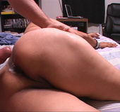 Swarthy latina mature bitch opens her back door