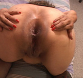 Fat ass Mexican granny takes facial after ass drilling