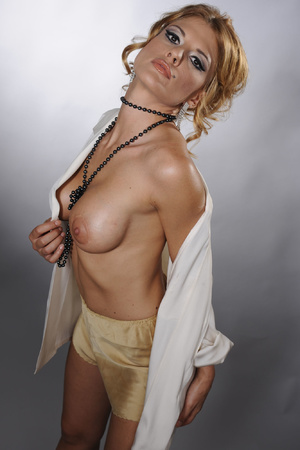 Sexy MILF in stockings and beads serving - XXX Dessert - Picture 1