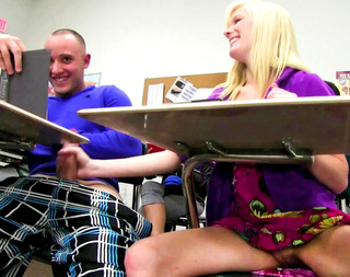 slutty blonde student rubbing