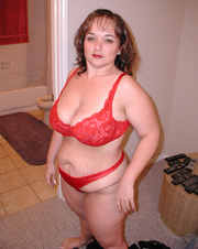 chubby mom red lingerie