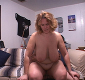 Huge titted curly mom rides cock with her asshole