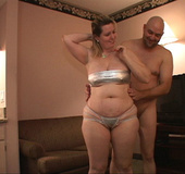 Huge titted blonde mom takes off her sliver lingerie for hard fucking