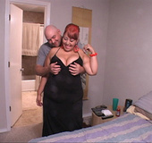 Huge titted latina mom with red hair showing off her juggs