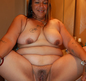 Chubby latina housewife showing off her stretched pussy