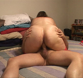 Busty mom in red stockings jumps on a long dong