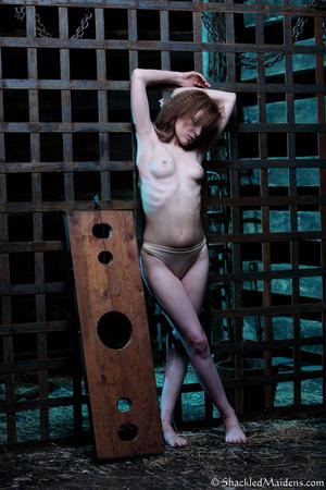 Brunette chick in beige panties posing i - XXX Dessert - Picture 2