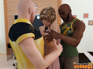 Cool 3d cartoon with black and white bald guys - Picture 1