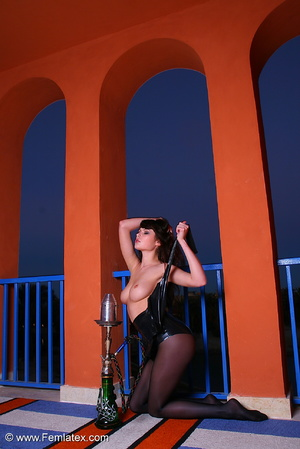 Brunette babe in black latex and stockin - XXX Dessert - Picture 11