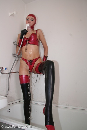 Sexy babe in latex underwear and stockin - XXX Dessert - Picture 13