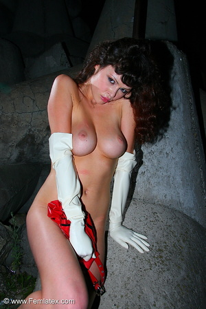 Brunette in red latex minidress performs - XXX Dessert - Picture 9