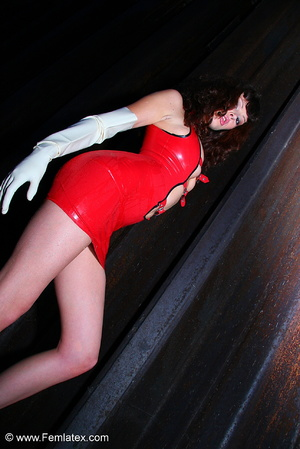 Brunette in red latex minidress performs - XXX Dessert - Picture 10