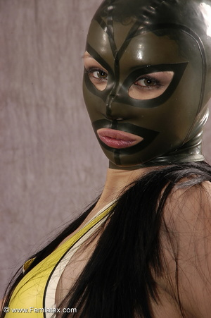 Masked girl in yellow latex comes out of - XXX Dessert - Picture 10
