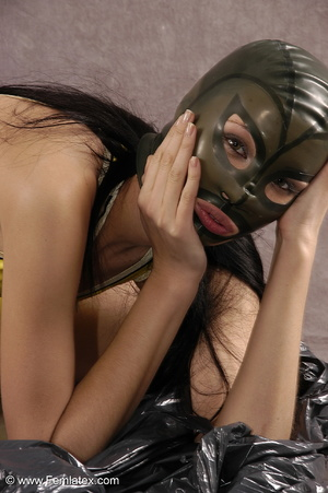 Masked girl in yellow latex comes out of - XXX Dessert - Picture 14