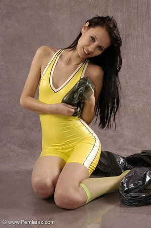 Masked girl in yellow latex comes out of - XXX Dessert - Picture 15