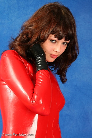 Brunette bombshell in red latex jumpsuit - XXX Dessert - Picture 7