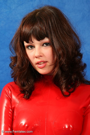 Brunette bombshell in red latex jumpsuit - XXX Dessert - Picture 9