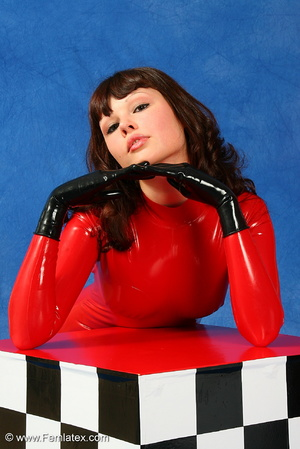 Brunette bombshell in red latex jumpsuit - XXX Dessert - Picture 15