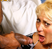 Blondy takes long black mamba in her sweaty pussy.