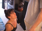 brunette wife sucks and