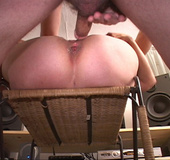 Naked granny butt-fucked cuddled-up in a chair