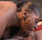 Horny ebony milf sucks white cock