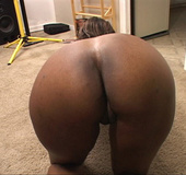Ebony cute chick sucks dick and then bending over to get fucked in ass
