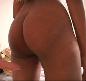 Hot sexy ebony shows her ass and then enjoys big cock in mouth deep throat
