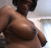 Hot ebony takes nude shots of her inviting pussy and ass then enjoys cock