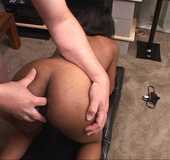 Black damsel's small ass gets fingered and then fucked  sweetly doggy