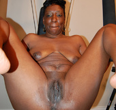 Hot ebony momma spreads open her nude pussy and ass begging to be fucked