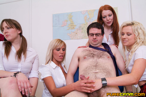 Four naughty college ladies handjob thei - XXX Dessert - Picture 7