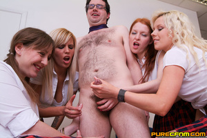 Four naughty college ladies handjob thei - XXX Dessert - Picture 14