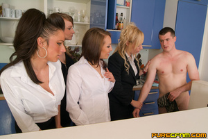 Four naughty sexy ladies caressing his d - XXX Dessert - Picture 2
