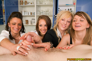 Four naughty sexy ladies caressing his d - XXX Dessert - Picture 11
