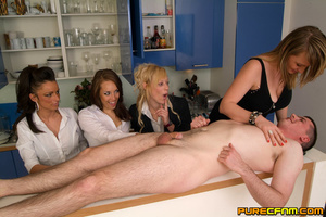 Four naughty sexy ladies caressing his d - XXX Dessert - Picture 12