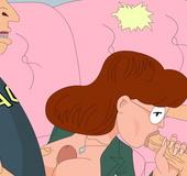 Skillful cartoon chick Daria pleasing Beavis Butt-head cocks at the same