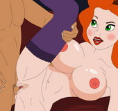 Cartoon redhead milf Annie Hughes in sexy stockings in hot sex action