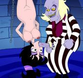 Horny cartoon guy Beetlejuice forced hanged beauty Lydia suck his hard