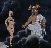 Greeks cartoon guy banging hot blonde nymph on the raft.