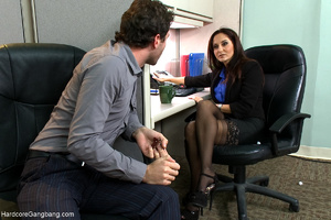 Busty lady-boss gets roped and fucked ha - XXX Dessert - Picture 1