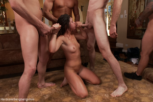 Brunette chick gets her face sprayed wit - XXX Dessert - Picture 6