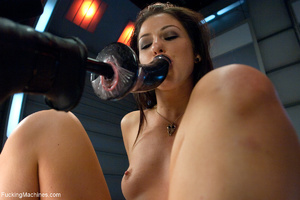 Sexy brunette bitch gets her tits pumped - Picture 5